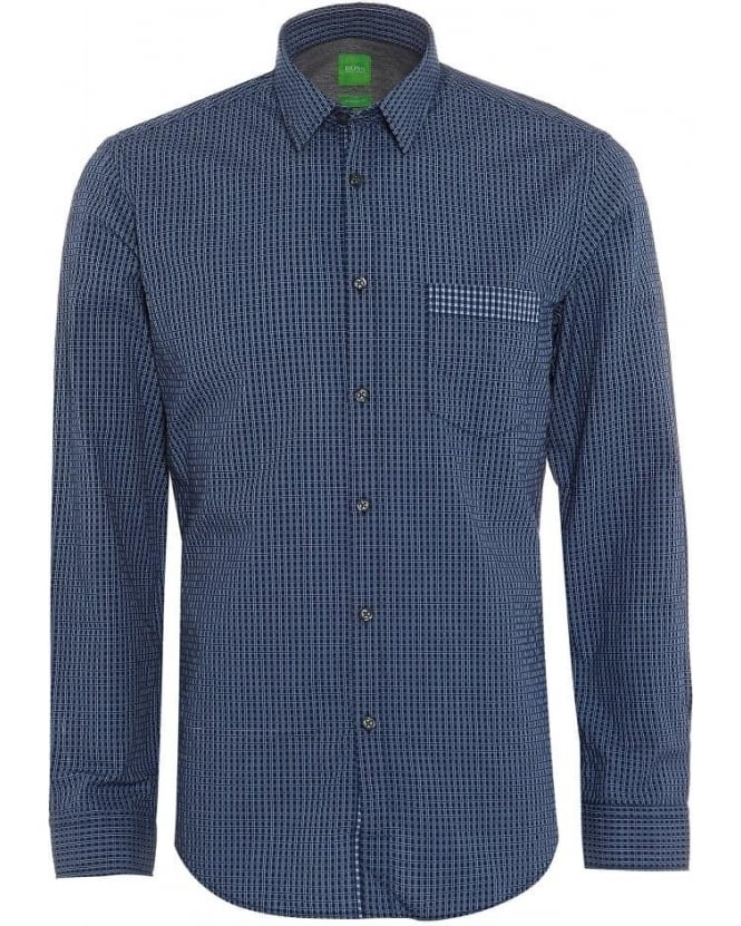 Hugo Boss Green Mens Shirt C-Bicronio Checked Dark Blue Shirt