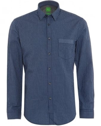 Mens Shirt C-Bicronio Checked Dark Blue Shirt