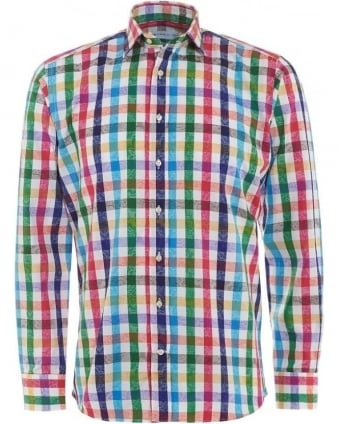 Mens Shirt Checked, Regular Fit Multi-Coloured Shirt