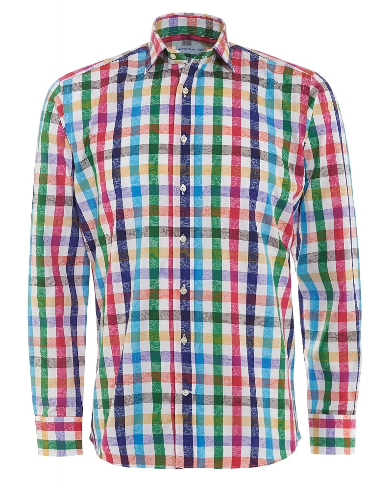 ETRO Mens Shirt Checked, Regular Fit Multi-Coloured Shirt