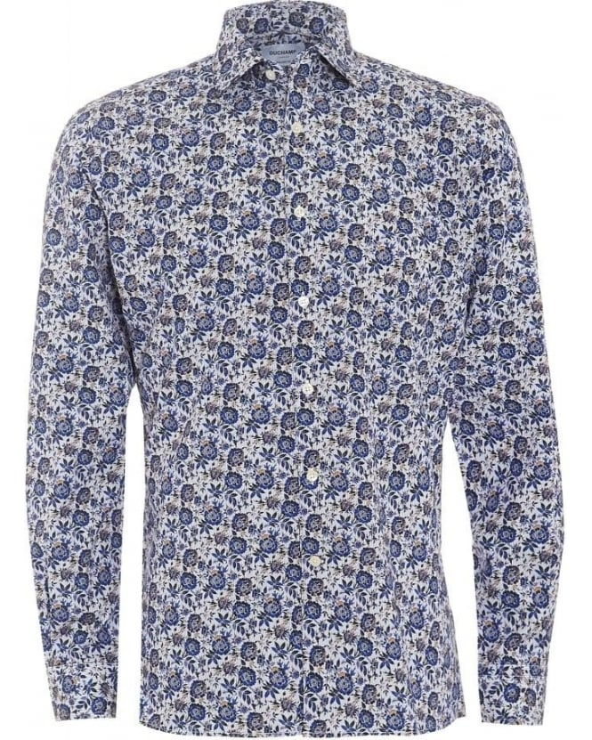 Duchamp Mens Shirt Climbing Floral Navy Blue Shirt