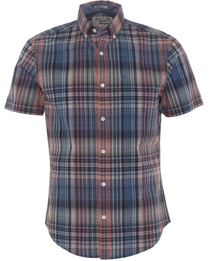 Original Penguin Mens Shirt Dark Denim Mapper Check Orange & Blue Shirt