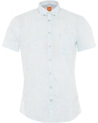Mens Shirt Erollese Short Sleeve Turquoise Pattern Shirt