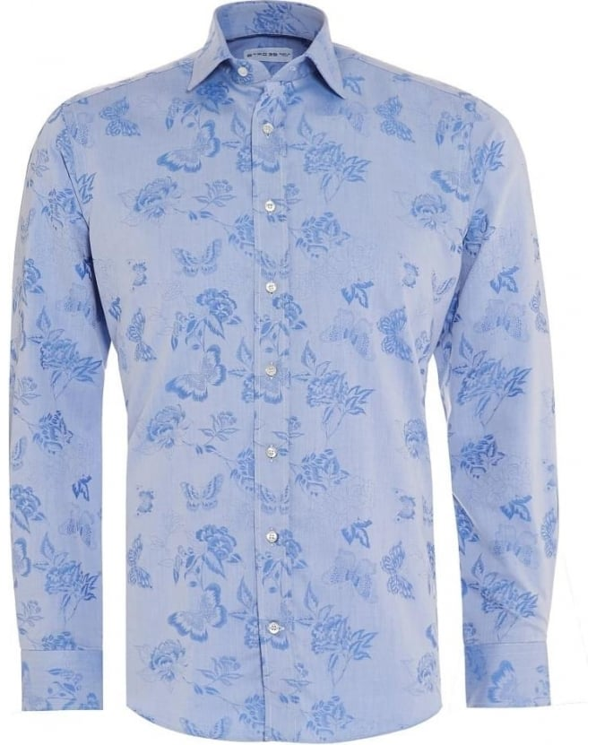 Etro Mens Shirt Floral Butterfly Regular Fit Blue Shirt