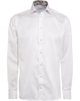 Mens Shirt Floral Contrast Trim Slim Fit White Shirt