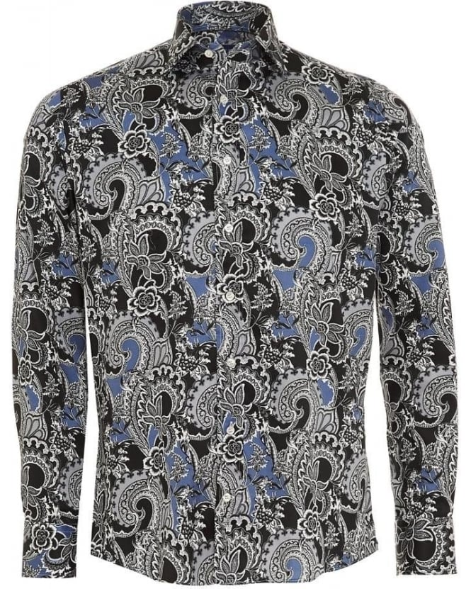 Etro Mens Shirt Floral Paisley Regular Fit Navy Blue Shirt