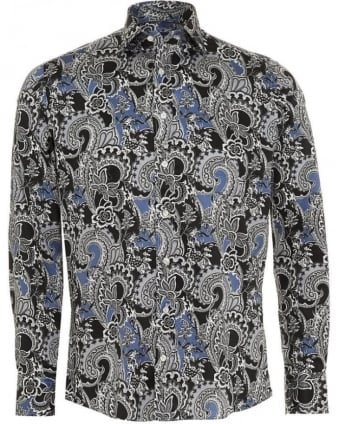 Mens Shirt Floral Paisley Regular Fit Navy Blue Shirt