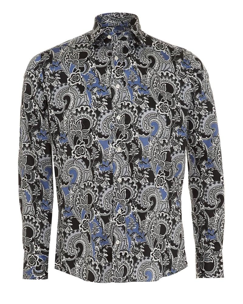 Etro mens shirt floral paisley regular fit navy blue shirt for Etro men s shirts