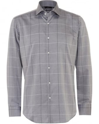 Mens Shirt Gordon Grey Window Pane Check Shirt