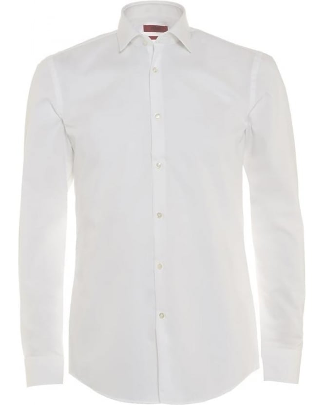 Hugo Boss - Hugo Mens Shirt Jenno White Formal Slim Fit Shirt