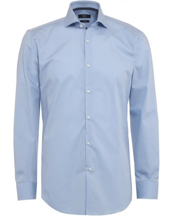 Hugo Boss Black Mens Shirt Jery Slim Fit Contrast Collar Blue Shirt