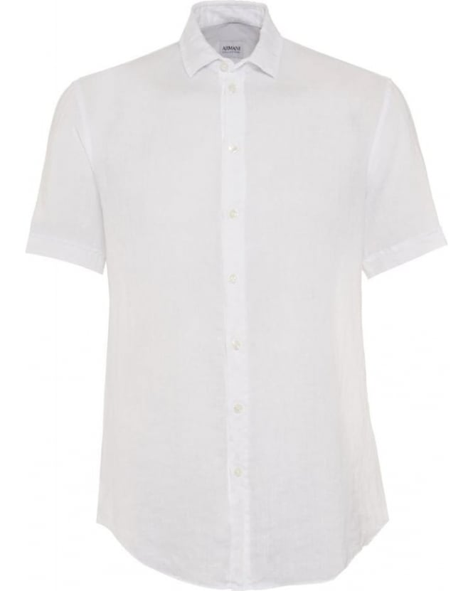 Armani Collezioni Mens Shirt Linen Regular Fit White Shirt