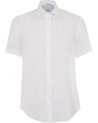 Mens Shirt Linen Regular Fit White Shirt