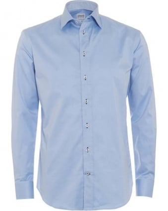 Mens Shirt Modern Fit Stretch Sky Blue Business Shirt