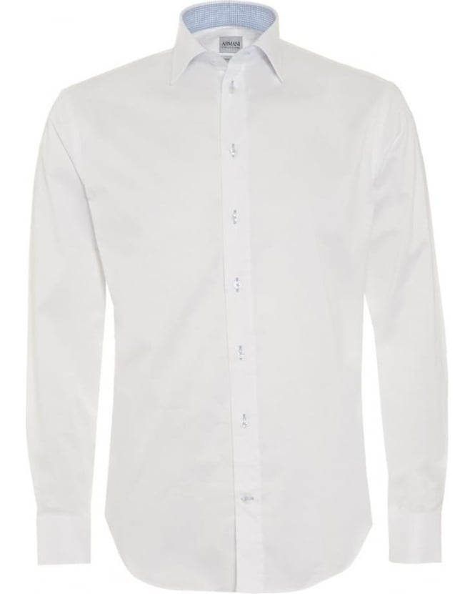 Armani Collezioni Mens Shirt Modern Fit Stretch White Business Shirt