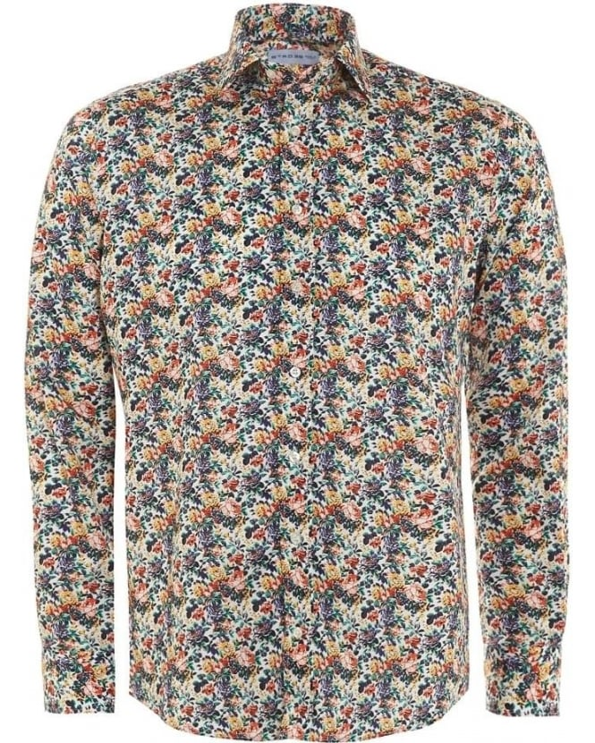 Etro Mens Shirt Multi-Coloured Floral Regular Fit Shirt