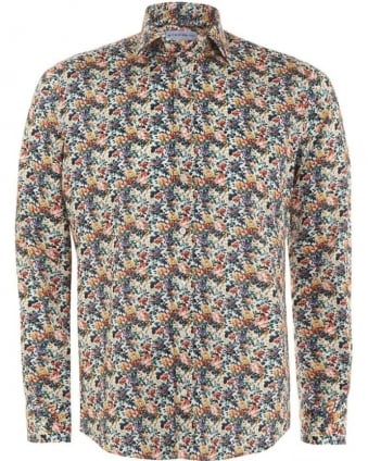 Mens Shirt Multi-Coloured Floral Regular Fit Shirt