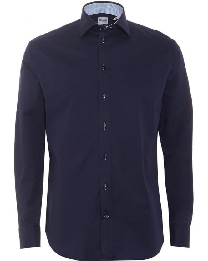 Armani Collezioni Mens Shirt, Navy Blue Modern Fit Business Shirt