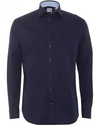 Mens Shirt, Navy Blue Modern Fit Business Shirt