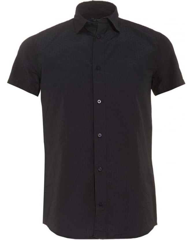 Armani Jeans Mens Shirt, Navy Blue Short Sleeve Dot Shirt