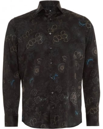 Mens Shirt Paisley Floral Regular Fit Black Shirt