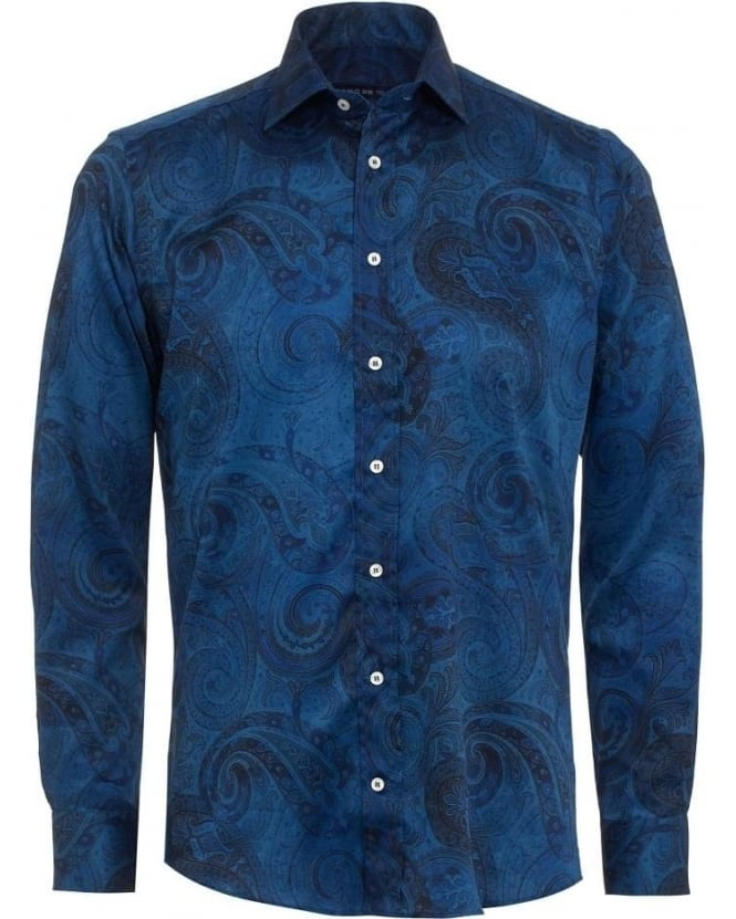 ETRO Mens Shirt Paisley Print Regular Fit Navy Blue Shirt