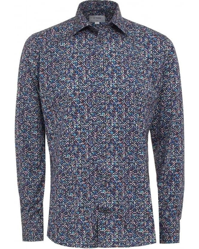 Eton Shirts Mens Shirt Pixel Print Slim Fit Navy Blue Shirt
