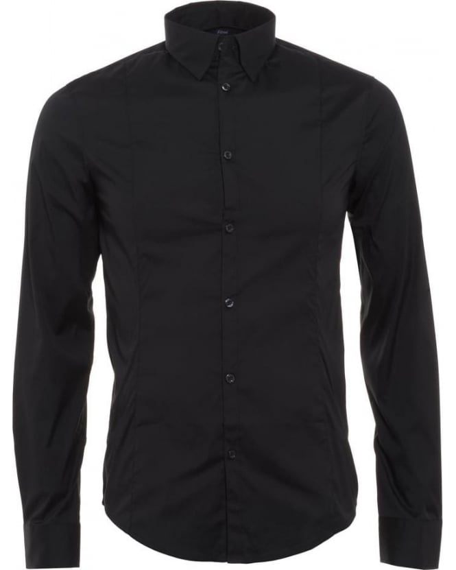 Armani Jeans Mens Shirt Poplin Stretch Slim Fit Black Shirt