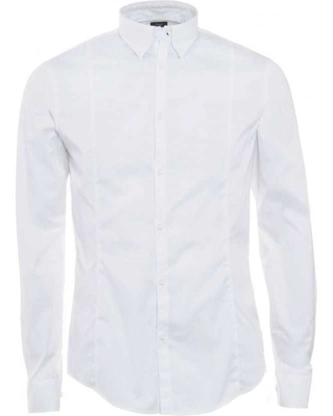 Armani Jeans Mens Shirt Poplin Stretch Slim Fit White Shirt