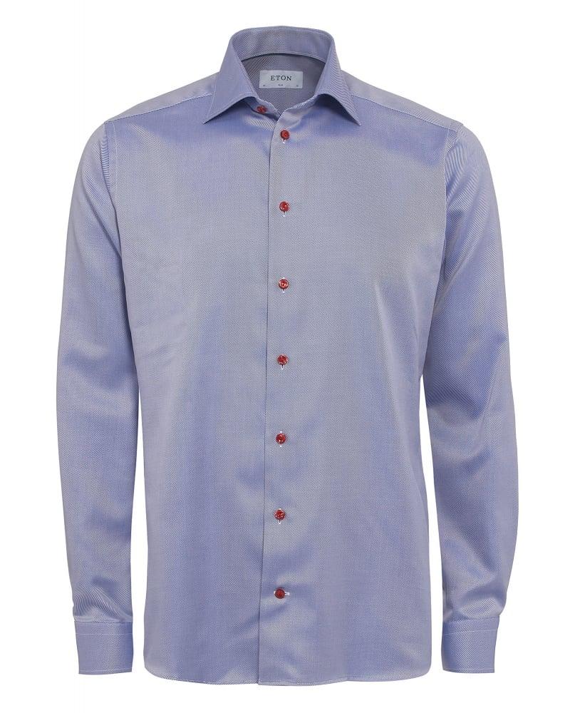 eton shirts mens shirt red button diagonal slim fit blue shirt