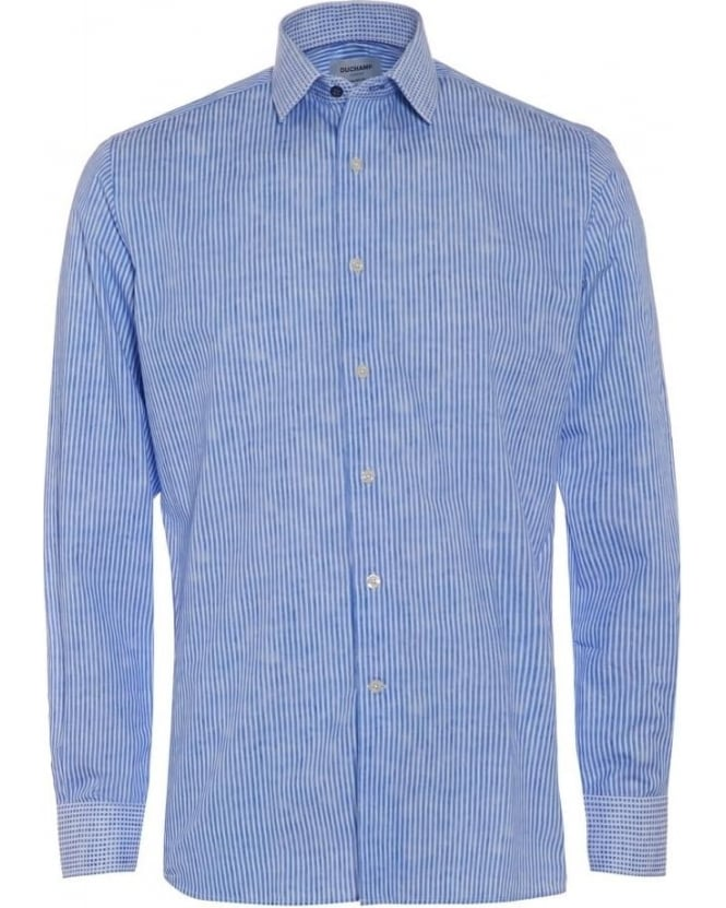 Duchamp Mens Shirt Sky Blue Painted Stripe Check Collar and Cuffs