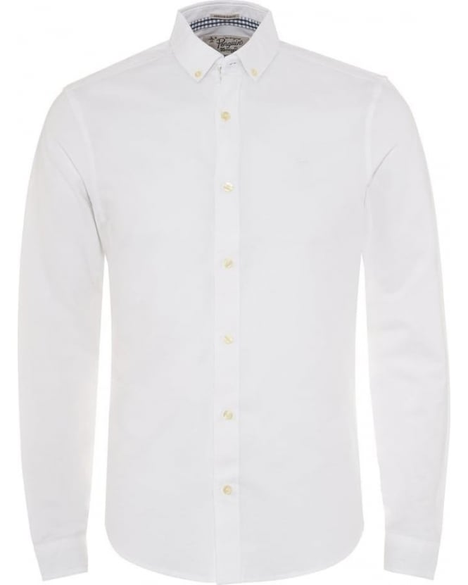 Original Penguin Mens Shirt Straight Up Oxford Slim Fit White Shirt
