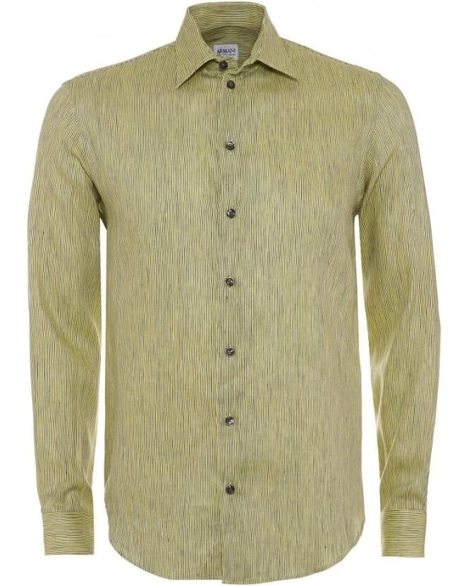 Armani Collezioni Mens Shirt Stripe Linen Lime Green Shirt