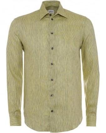 Mens Shirt Stripe Linen Lime Green Shirt