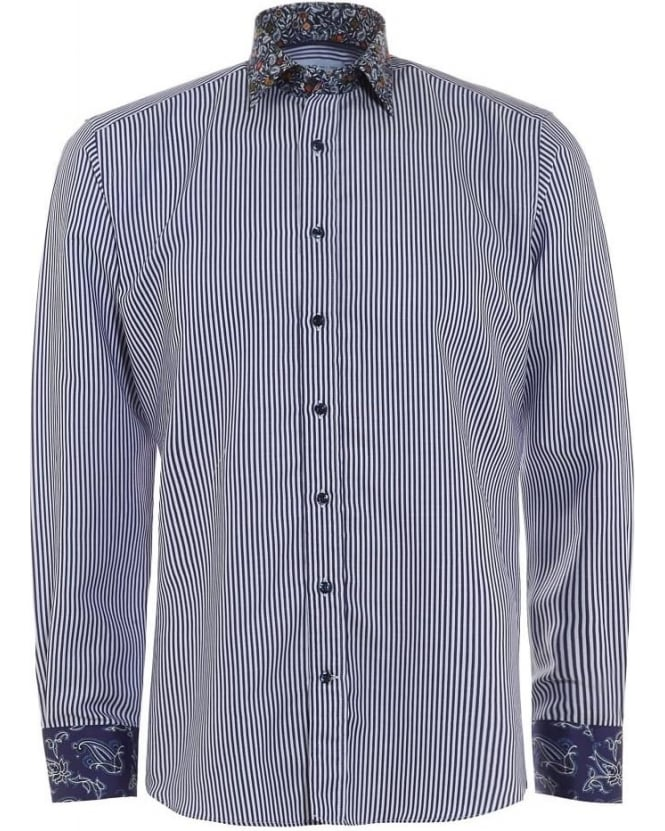 Etro Mens Shirt Striped Contrast Print Regular Fit Navy Blue Shirt