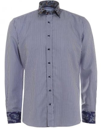 Mens Shirt Striped Contrast Print Regular Fit Navy Blue Shirt