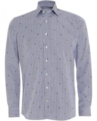 Mens Shirt Striped Ladybird Regular Fit Blue Shirt