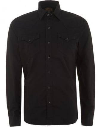 Mens Shirt Western Slim Fit Black Shirt
