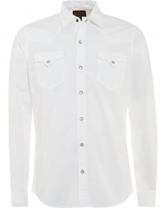 Mens Shirt Western Slim Fit White Shirt