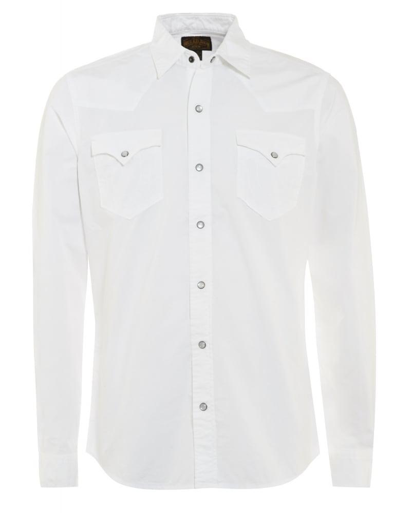 True Religion Mens Shirt Western Slim Fit White Shirt