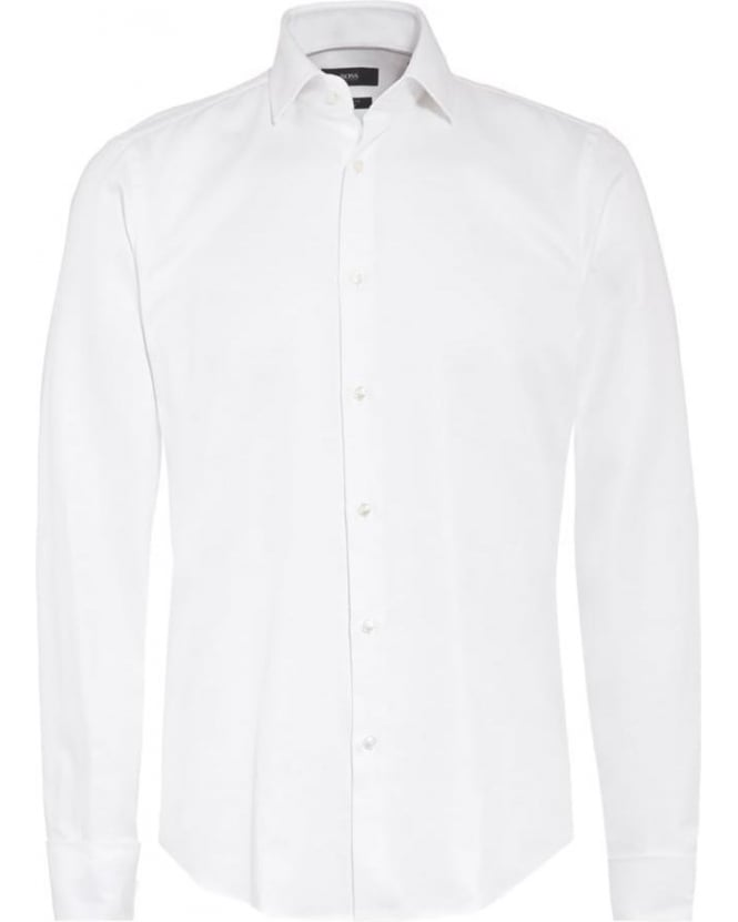 Hugo Boss Black Mens Shirt, White Cotton Dinner Shirt