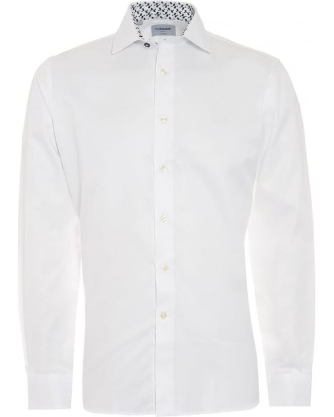 Duchamp Mens Shirt White Herringbone Contrast Collar Shirt
