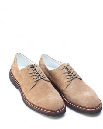Mens Shoes, Beige Suede Leather Lace Up Derby
