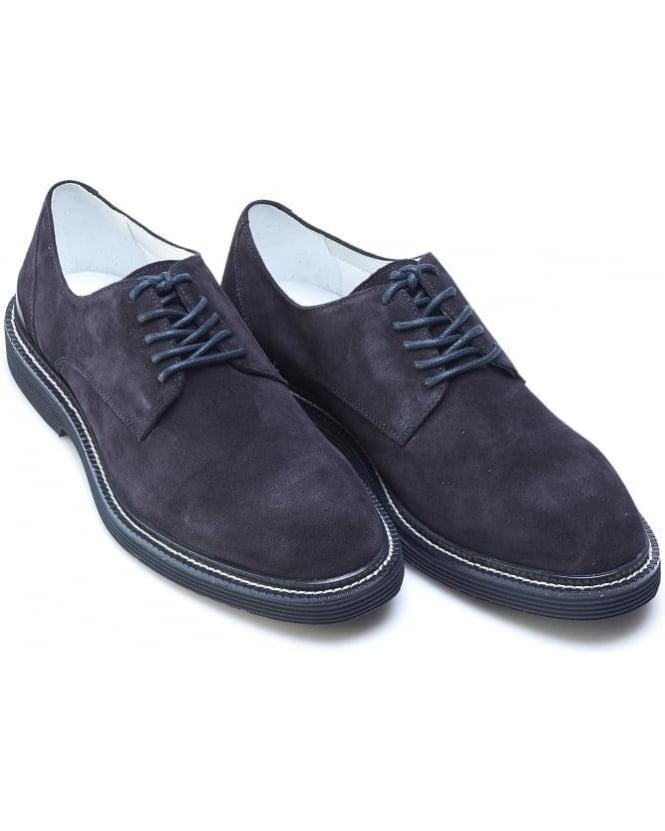 Armani Jeans Mens Shoes, Navy Blue Suede Leather Lace Up Derby
