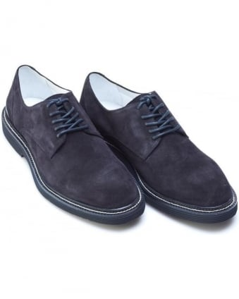 Mens Shoes, Navy Blue Suede Leather Lace Up Derby
