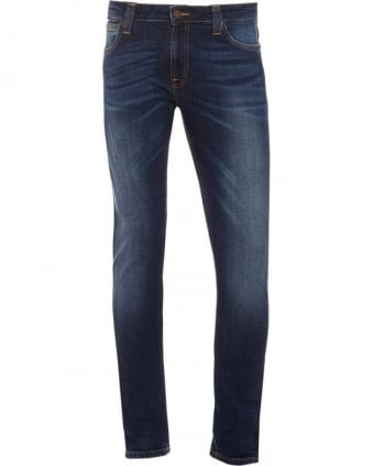 Mens Skinny Lin Jean, Love Flat Wash Blue Stretch Denim