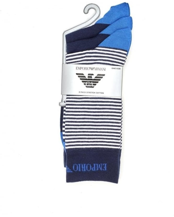 Emporio Armani Mens Socks Triple Pack Blue Plain Stripe Sock