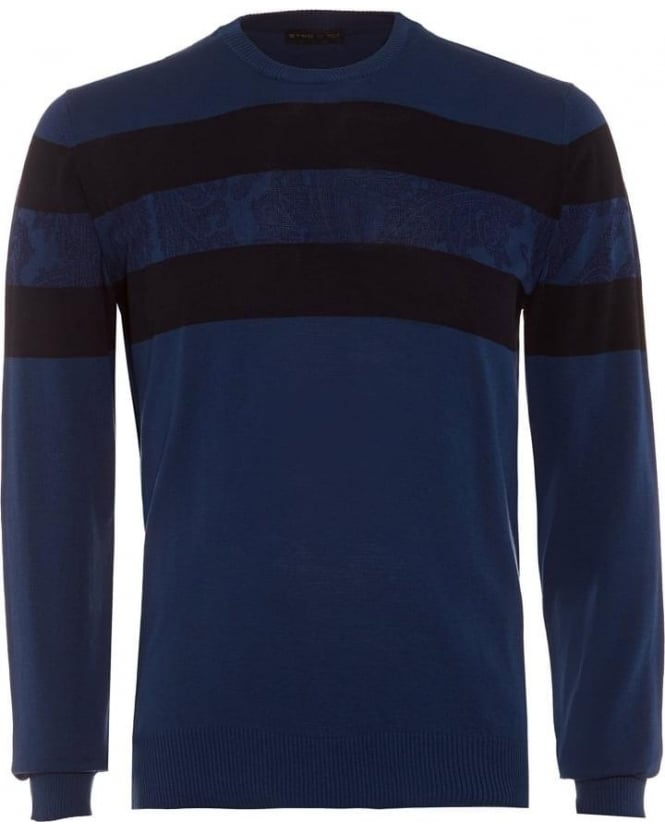 Etro Mens Striped Jumper, Navy Blue Paisley Knitwear