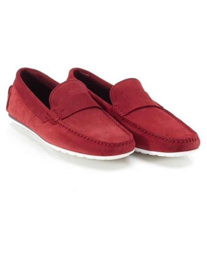 Hugo Boss - Hugo Mens Suede Moccasins C-Traveso Dark Red Loafer