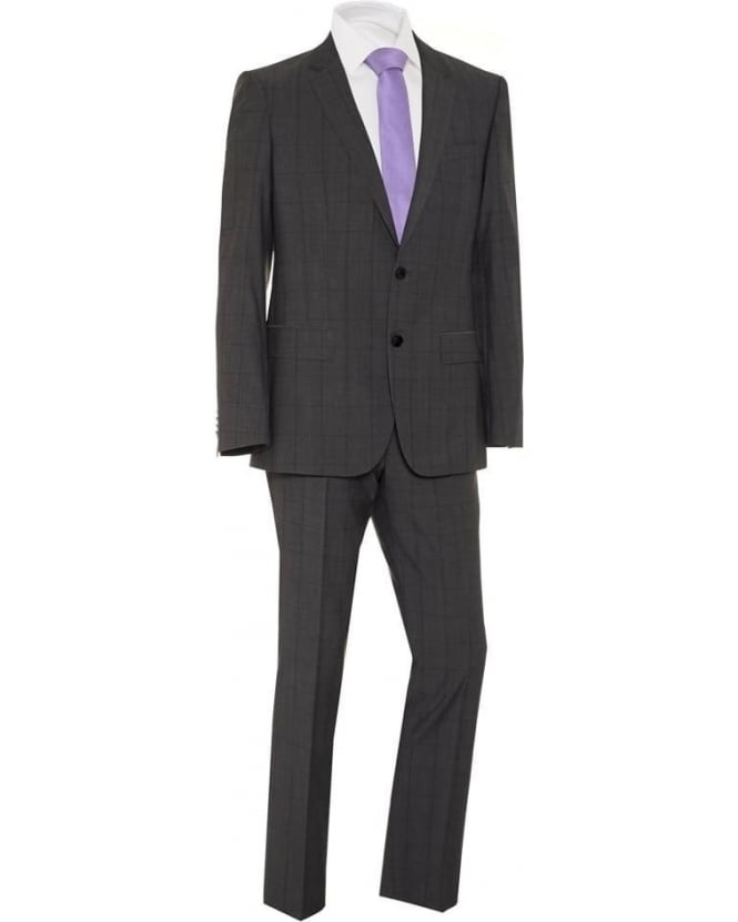 Hugo Boss Black Mens Suit Grey Window Pane Wool Slim Fit Huge/Genius Suit